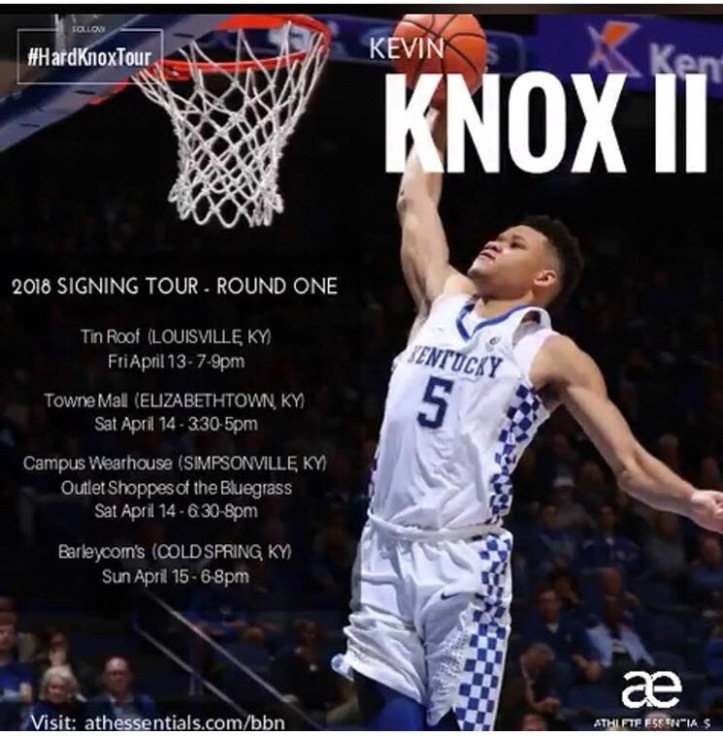 3c7375a90 (Photo courtesy of Kevin Knox-Instagram). University of Kentucky freshman  Kevin Knox has announced his autograph signing tour ...